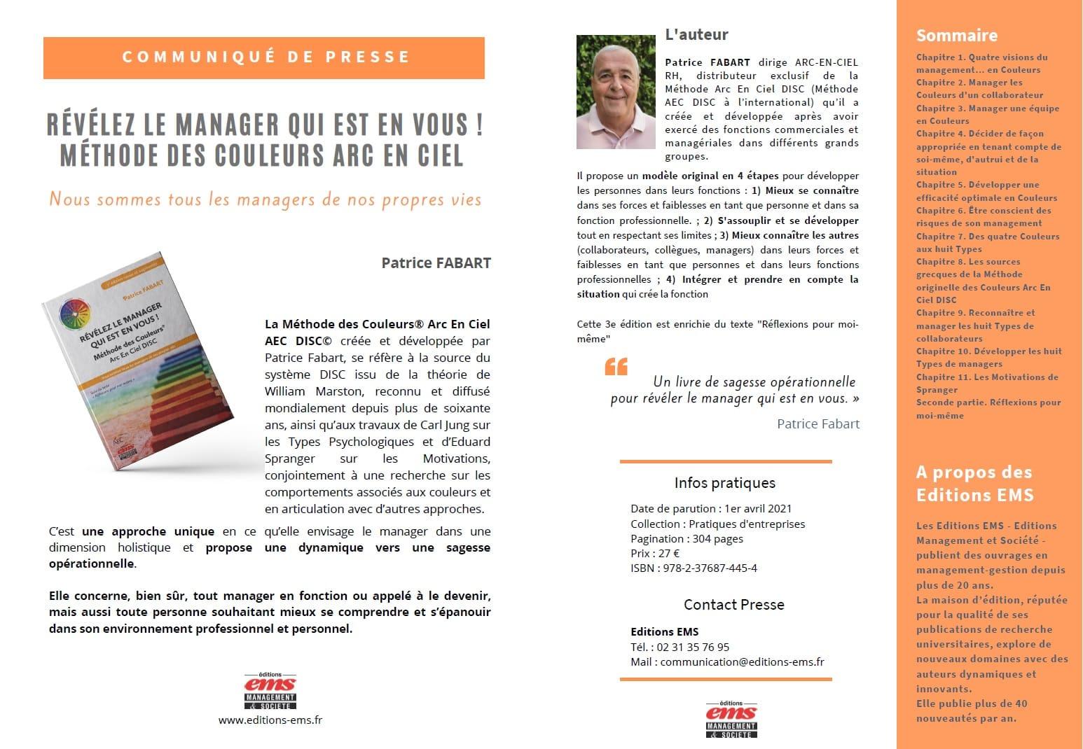 Découvrez le livre de Patrice Fabart sur le management avec le DISC et la méthode des Couleurs